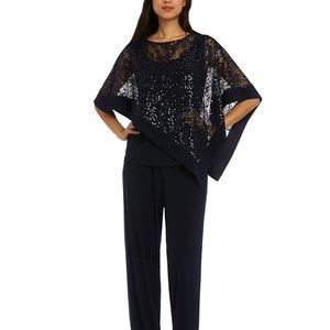 R & M Richards Sequined Capelet Navy 14 Pant Set
